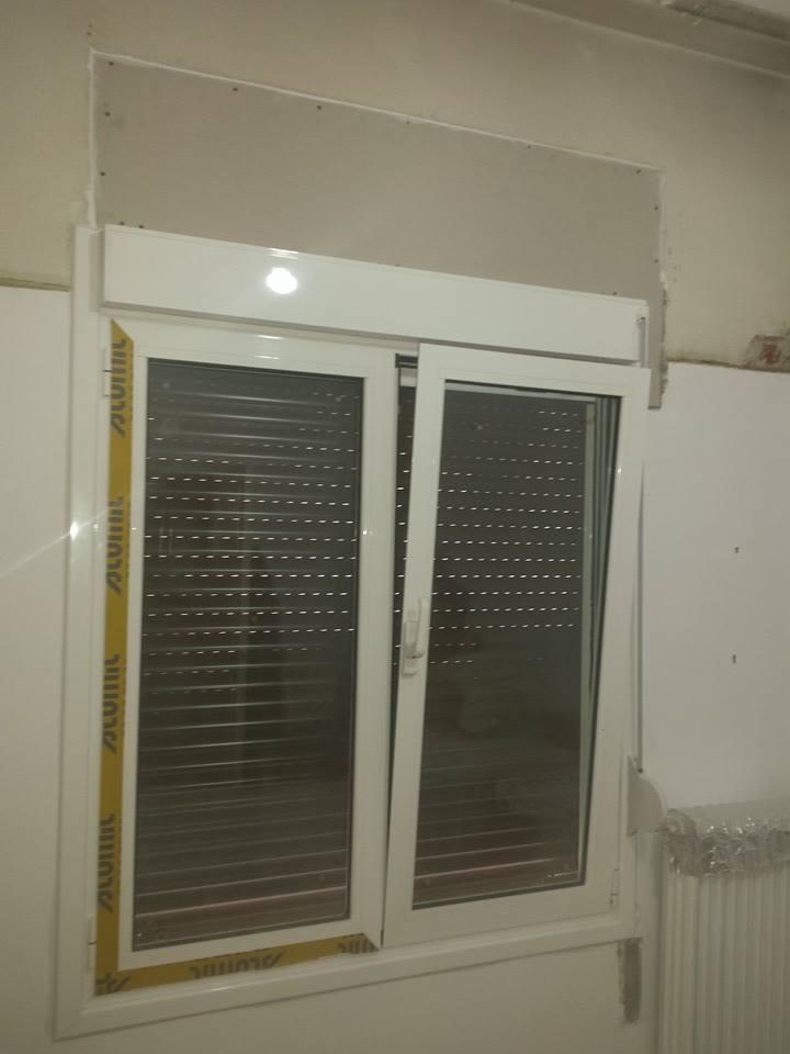 παράθυρο διπλό αλουμινίου με ανάκληση και ρολό κατασκευή ALUMIL
