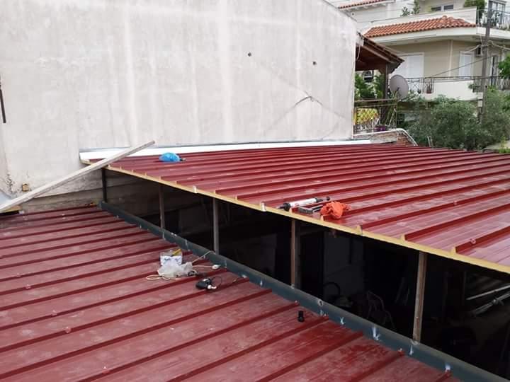 Τοποθέτηση πάνελ πολυουρεθάνης σε σκεπή σταγανοποίηση οροφής